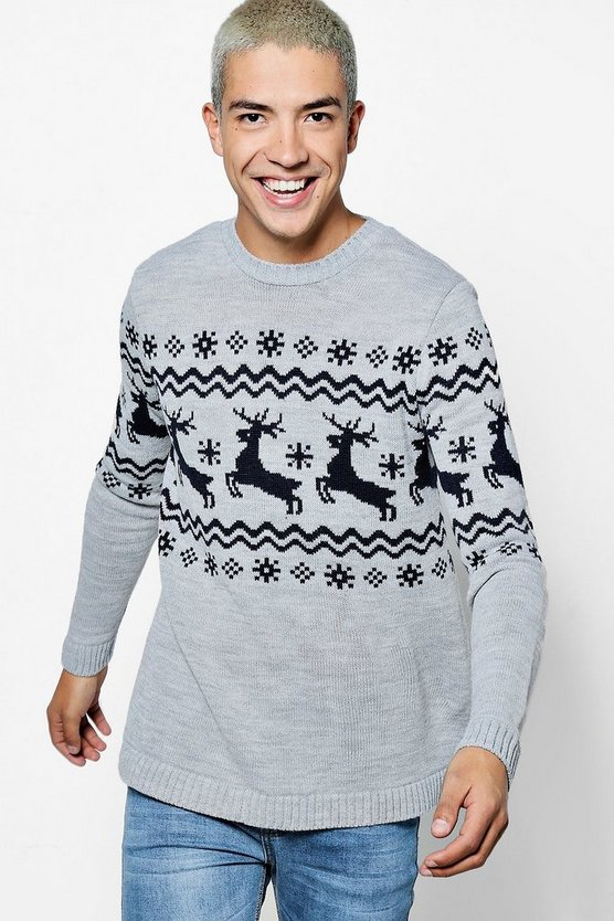 Reindeer Border Fairisle Christmas Jumper