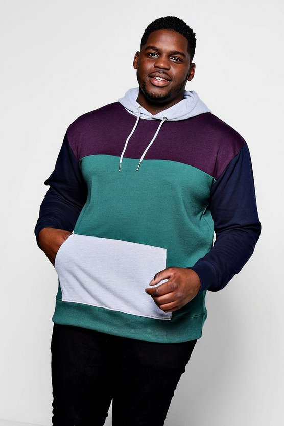 Big And Tall Panelled Colour Block Hoodie