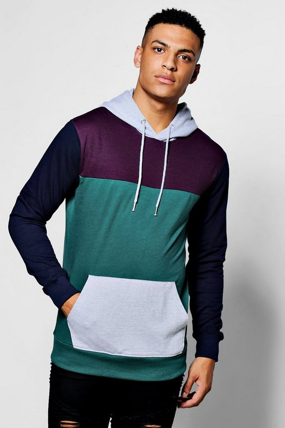 Panelled Colour Block Hoodie