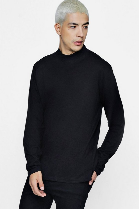 Loose Fit Long Sleeve Turtle Neck T-Shirt