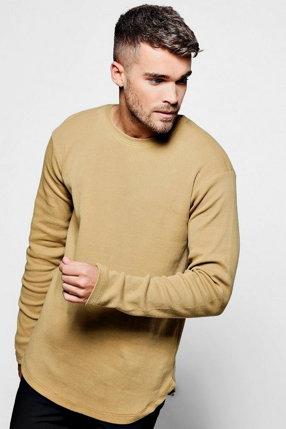 Skater Ribbed Curved Hem T-Shirt