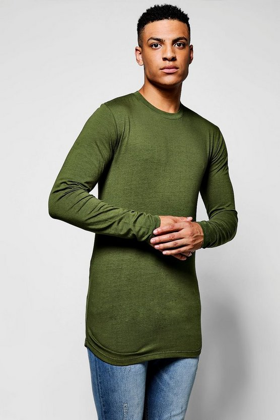 Muscle Fit Long Sleeve Curve Hem T-Shirt