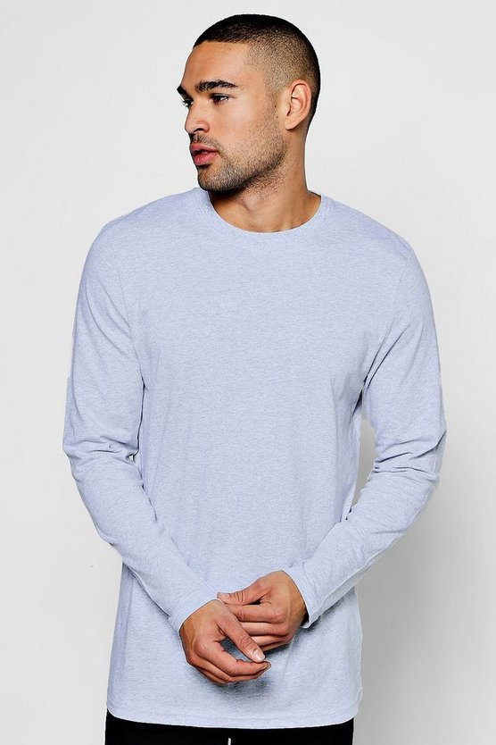 Longline Long Sleeve Crew Neck T-Shirt