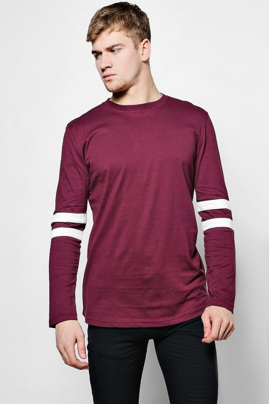 Long Sleeved Curved Hem T-Shirt