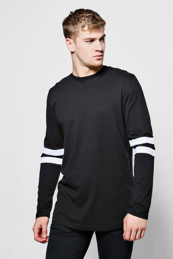 Long Sleeved Curve Hem T-Shirt