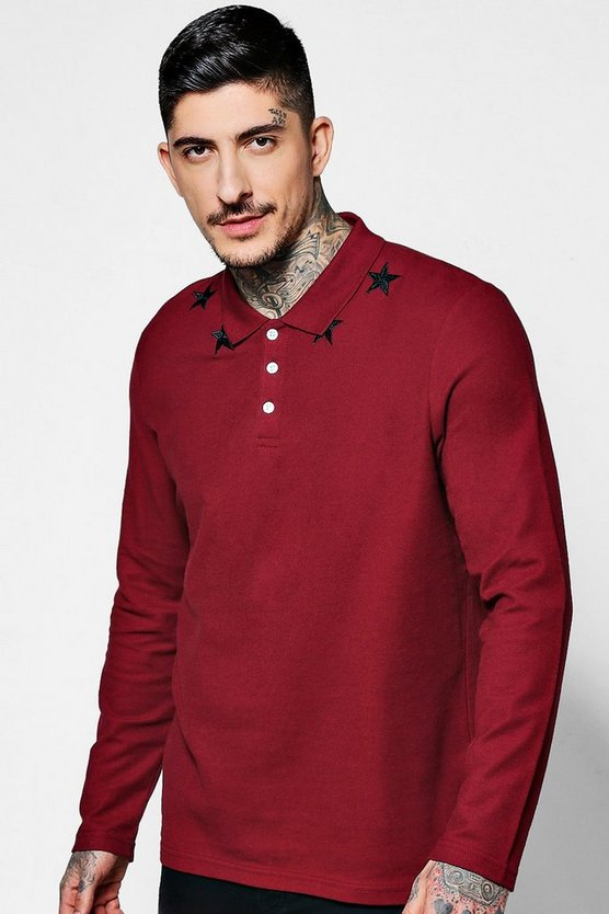 Long Sleeve Star Embroidered Polo Shirt