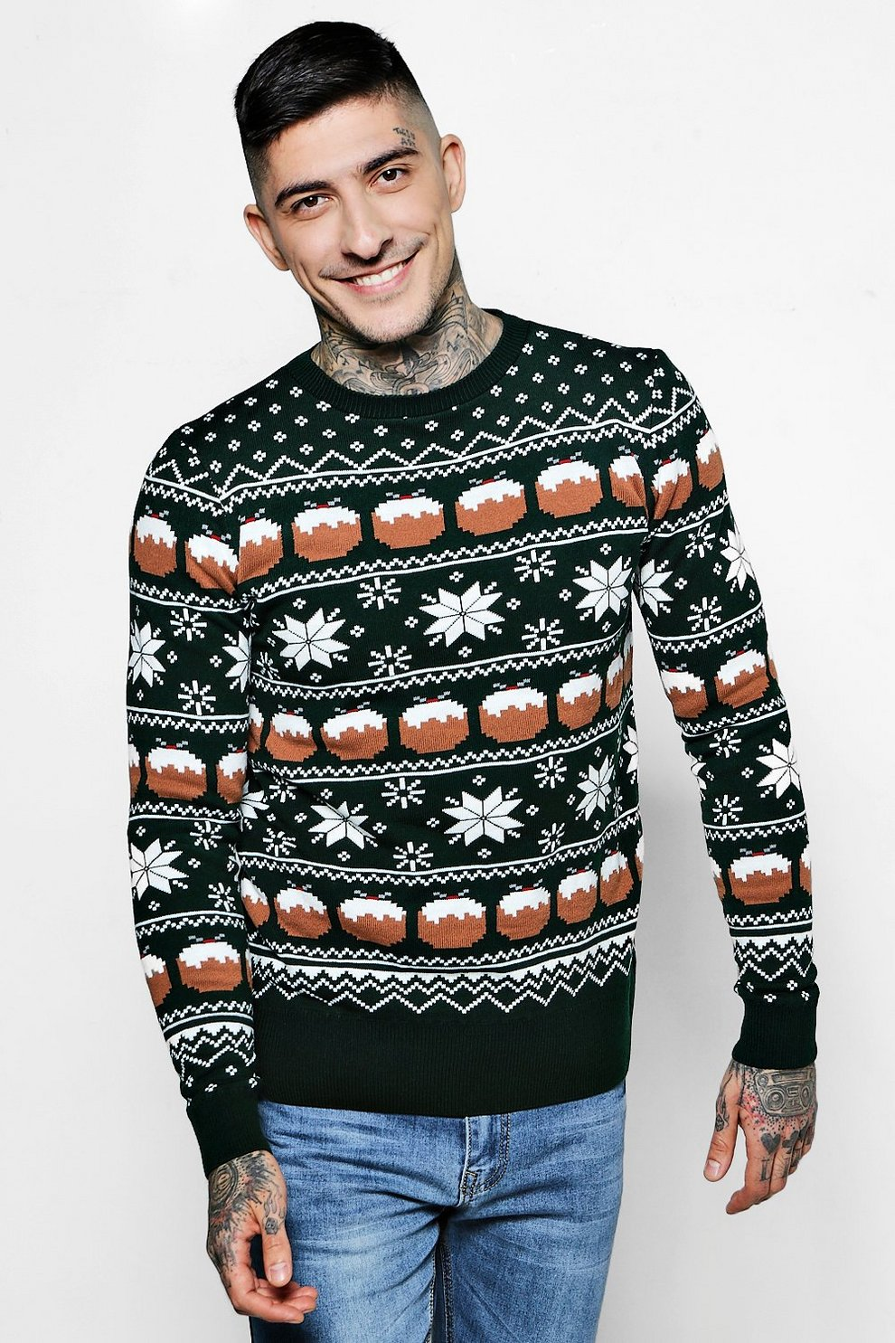 Christmas Pudding Fairisle Jumper | Boohoo