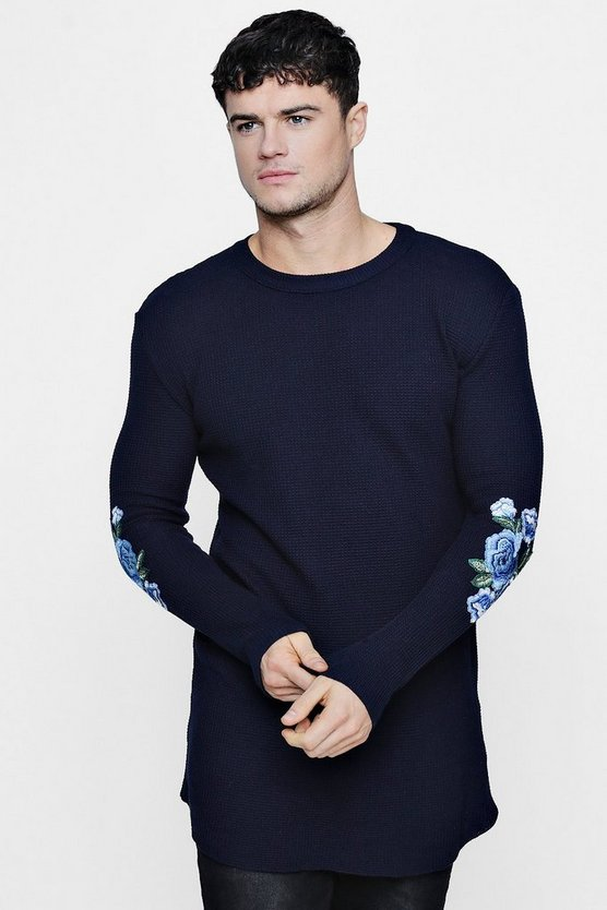 Longline Rose Embroidery Muscle Fit Waffle Knit Jumper