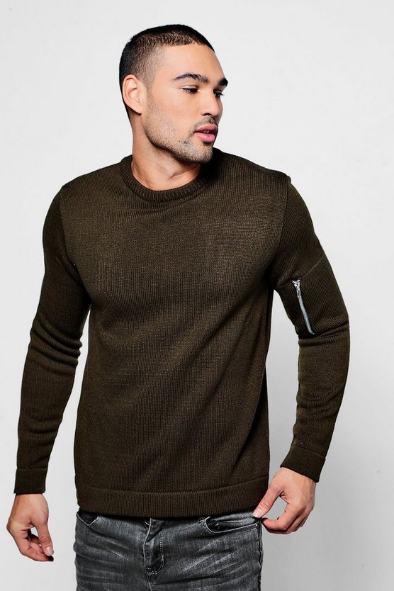 Zip Pocket Knitted Jumper