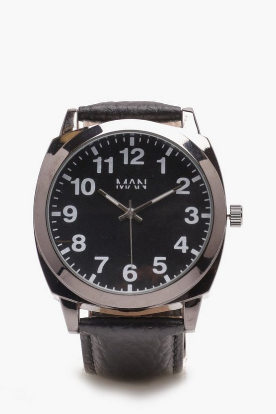 Black PU Strap Watch