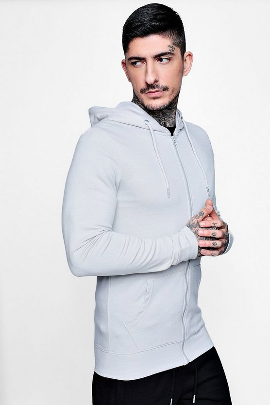 Muscle Fit Zip Through Hoodie