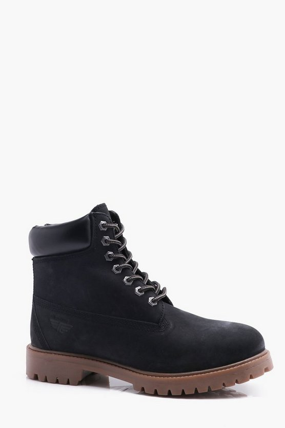 Black Real Leather Worker Boots