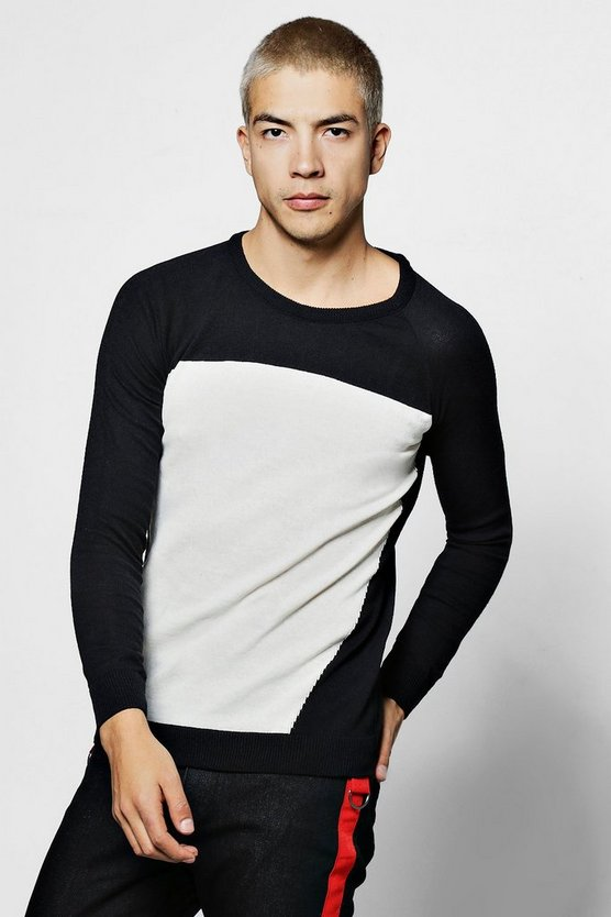 Colour Block Raglan Kntted Crew