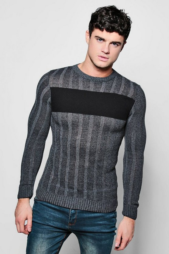 Muscle Colour Block Rib Knit Crew