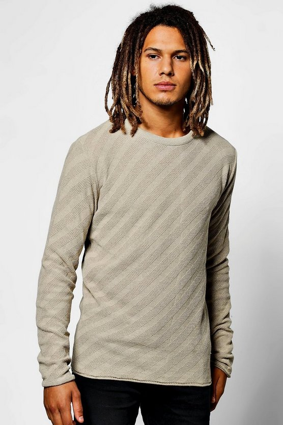 Diagonal Stitch Crew Neck Jumper