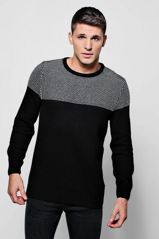 Colour Block Knitted Crew