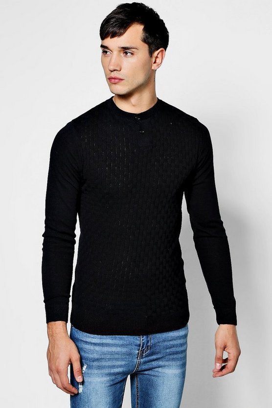Muscle Fit Grandad Collar Basket Knit Jumper