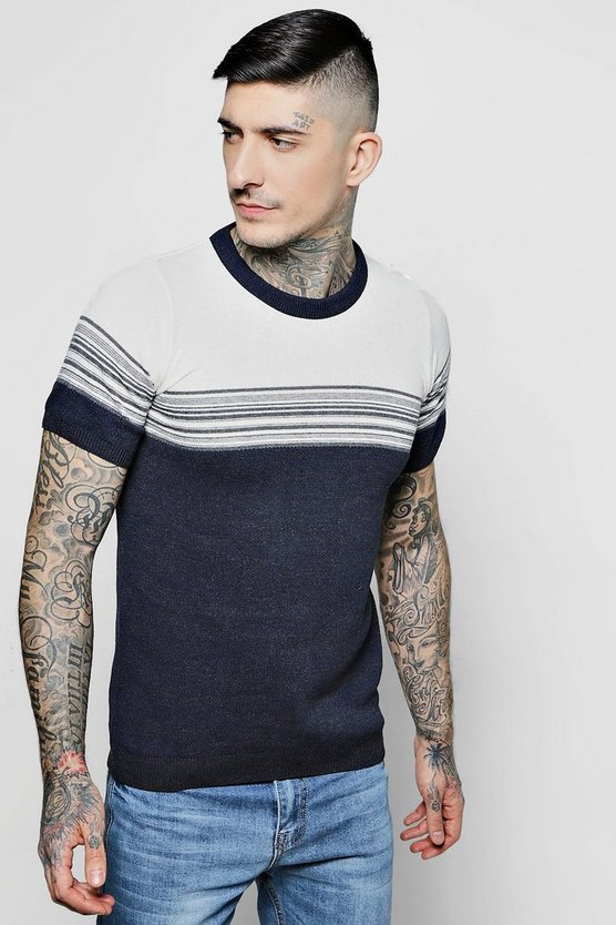 Muscle Fit Faded Stripe Knitted T-Shirt