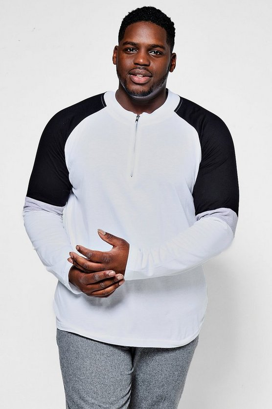 Big And Tall Zip Collar Long Sleeve T-Shirt