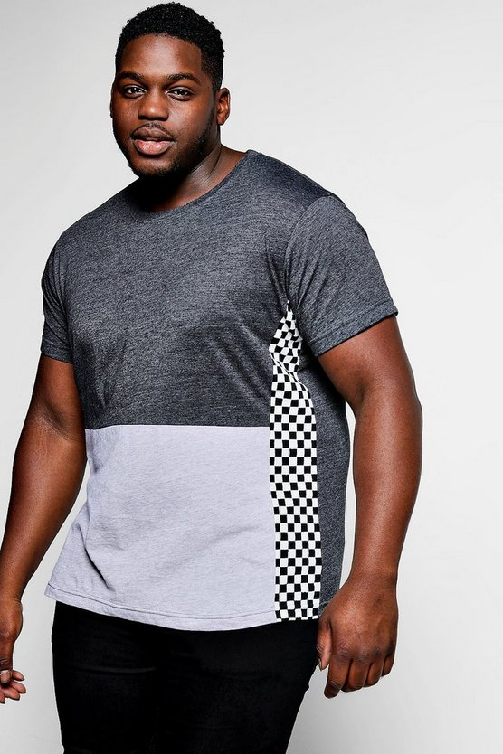 Big And Tall Colour Block Checkboard T-Shirt