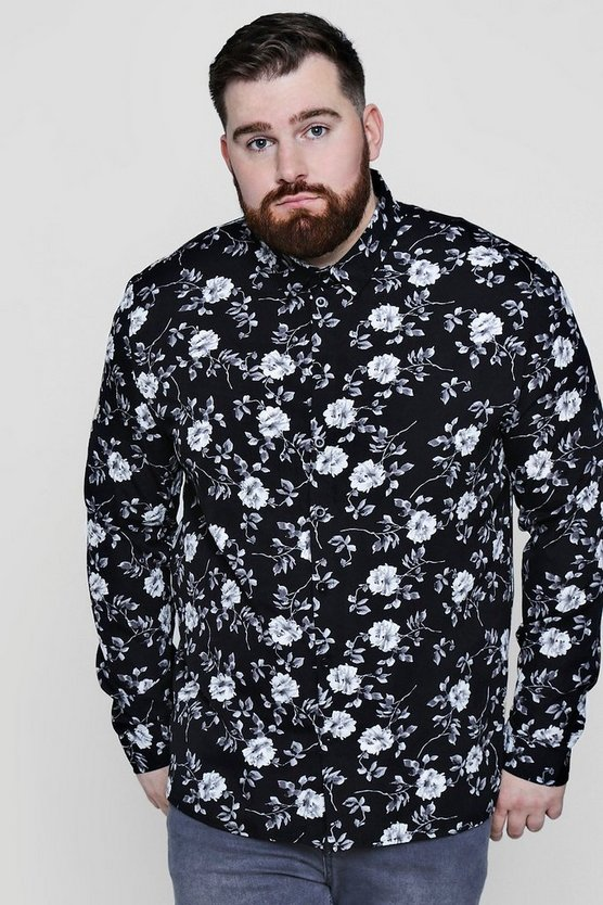 Big And Tall Mono Floral Long Sleeve Shirt