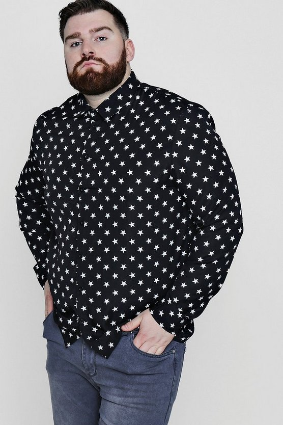Big And Tall Star Print Long Sleeve Shirt