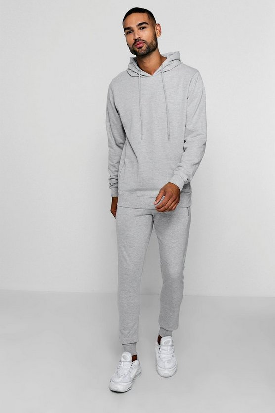 Skinny Fit Hooded Zip Detail Tracksuit