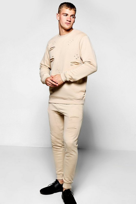Skinny Fit Distressed Sweater Tracksuit