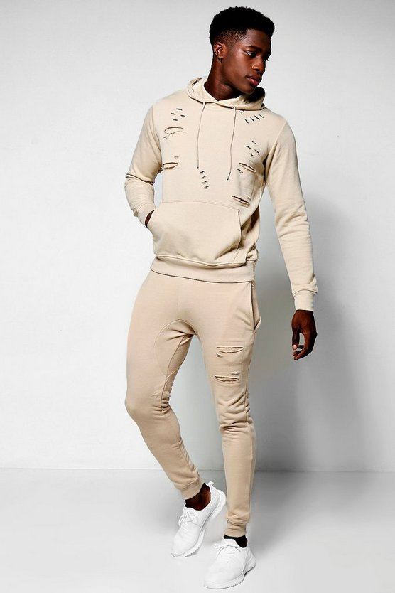 Skinny Fit Distressed Hooded Tracksuit