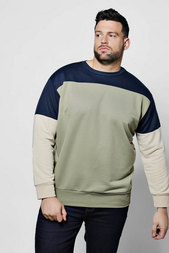 Big And Tall Colour Block Sweatshirt