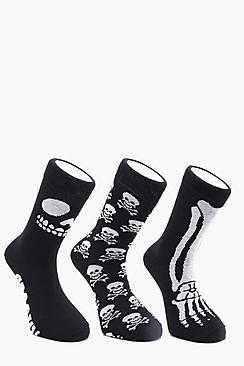 3 Pack Skeleton Halloween Socks