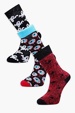 3 Pack All Over Print Halloween Socks