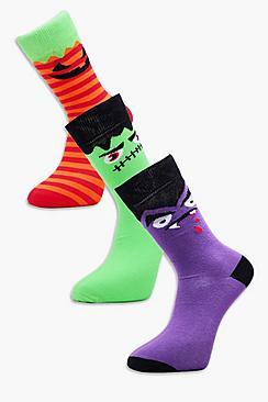 3 Pack Monster Halloween Socks