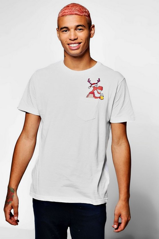 Christmas Reindeer Pocket T-Shirt