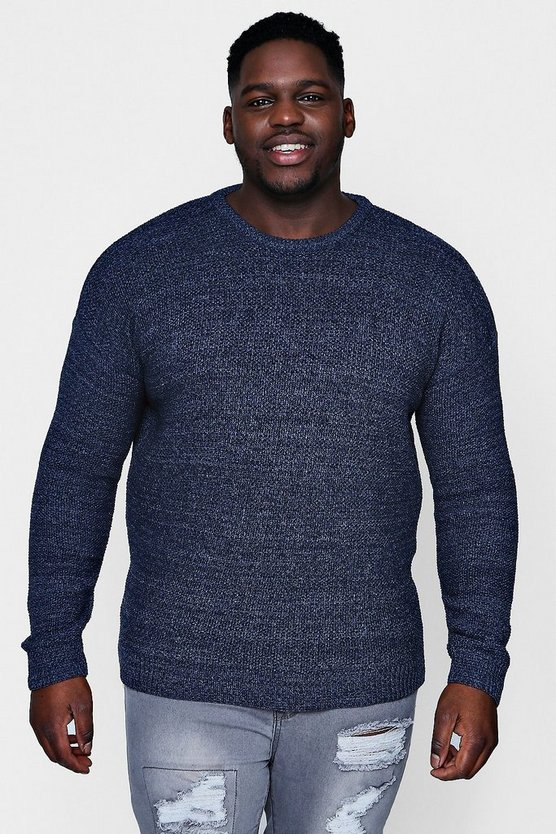 Big And Tall Textured Twist Crew Neck Jumper