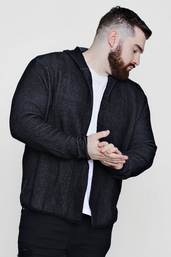 Big And Tall Ribbed Contrast Hooded Cardigan