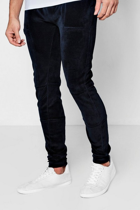 Skinny Fit Velour Joggers With Overlock Stitching