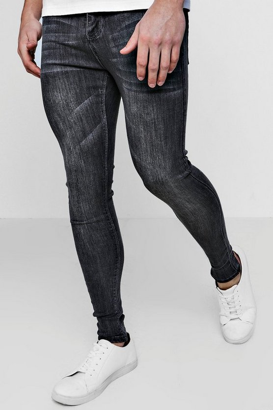 Grey Wash Spray On Skinny Jeans