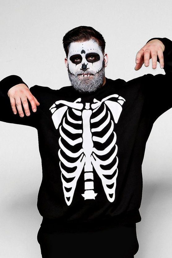 Big And Tall Skeleton Print Sweatshirt