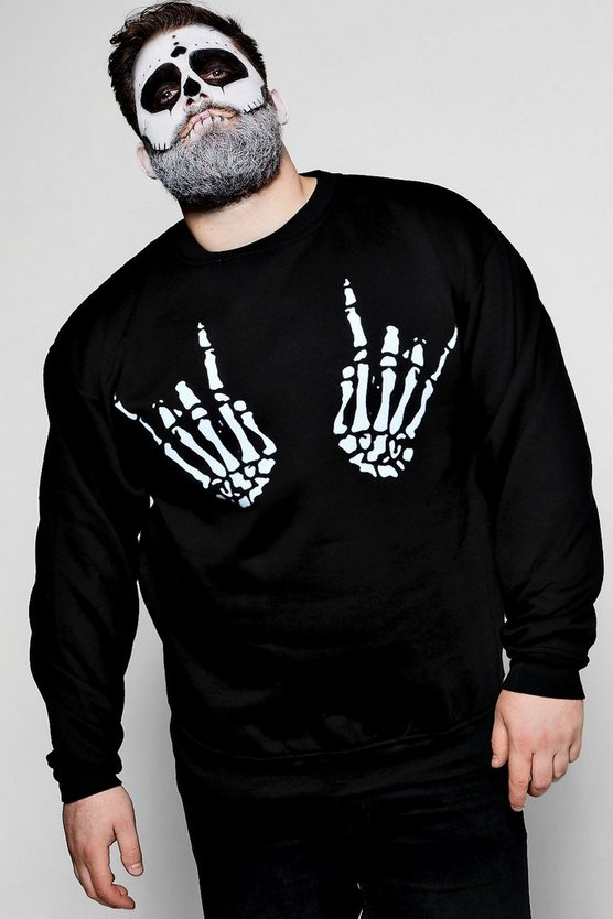 Big And Tall Skeleton Hand Print Sweater
