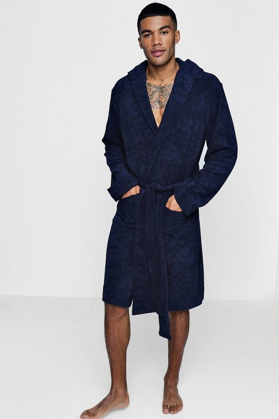 Navy Hooded Dressing Gown In Towelling