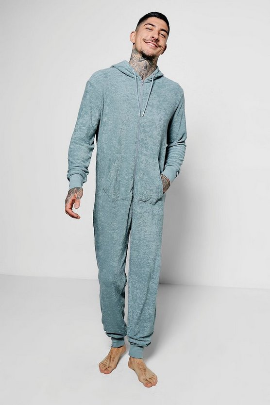 Grey Towelling Lounge Onesie