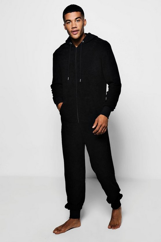 Black Towelling Lounge Onesie