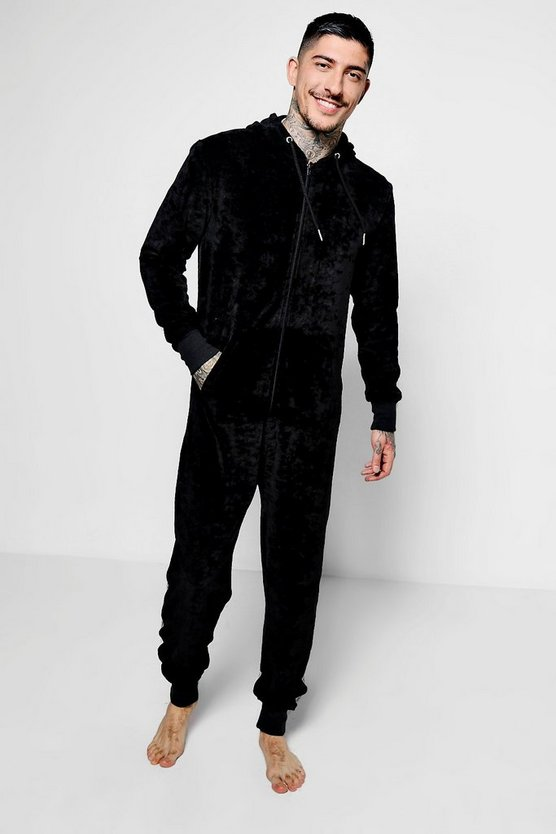 Black Lounge Velour Onesie