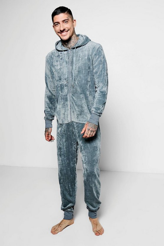 Grey Velour Lounge Onesie