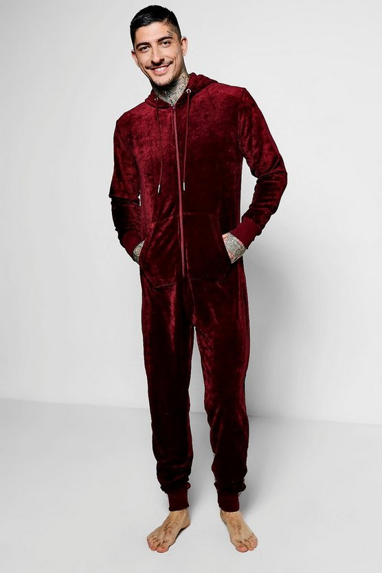 Burgundy Velour Lounge Onesie