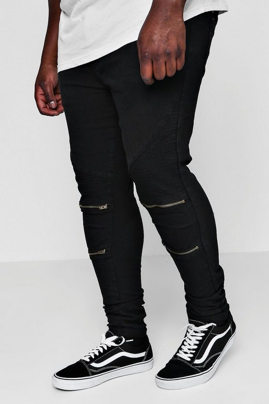 Big And Tall Skinny Fit Zip Knee Biker Jean