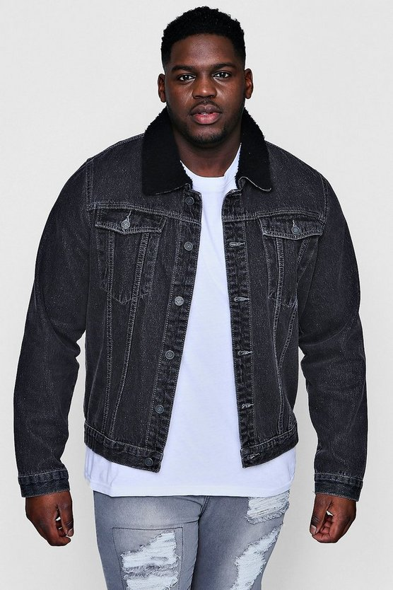Big And Tall Borg Collar Denim Jacket