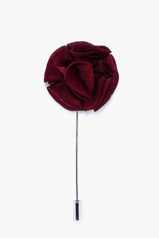 Burgundy Floral Lapel Pin