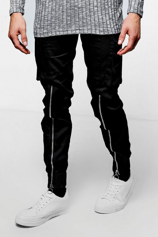 Black Skinny Fit Cuffed Zipped Cargo Trouser